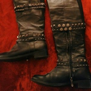 Black leather over the knee boots, size 10